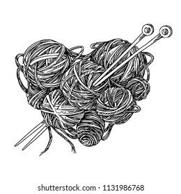 Balls of wool and knitting needles. Shape of a heart. Engraving style. Vector illustration.