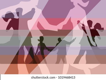 Balroom Dancers collage background. Stylized illustration of Young couples dancing ballroom dance. Vector available.