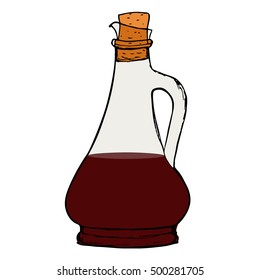 Balsamic vinegar sauce bottle with cork. Isolated.