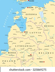Baltic countries political map. Baltic states area with capitals, national borders, important cities, rivers and lakes. English labeling and scaling.