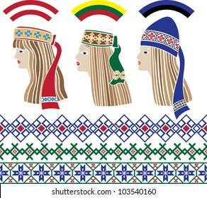 Baltic girls in national headdresses and patterns