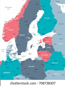 Baltic Sea Area Map - Detailed Vector Illustration
