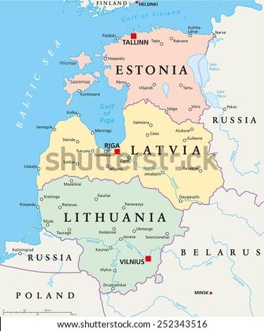Baltic States Political Map Estonia Latvia Stock Vector (Royalty ...
