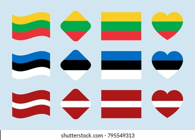 The Baltics flags vector set. Lithuania, Estonia, Latvia national flag collection. Flat isolated icons, traditional colors. Illustration. Web, sports pages, geographic, cartographic design elements