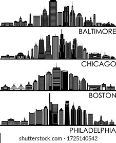 BALTIMORE CHICAGO BOSTON PHILADELPHIA City Skyline Silhouette Cityscape Vector
