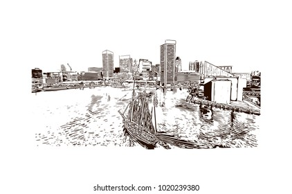 Baltimore, City in Maryland, USA. Hand drawn sketch illustration in vector.
