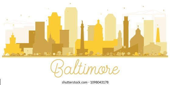 Baltimore City skyline Golden silhouette. Vector illustration. Simple flat concept for tourism presentation, banner, placard or web site. Business travel concept. Baltimore Cityscape with landmarks.