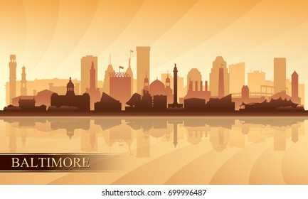 Baltimore city skyline silhouette background, vector illustration
