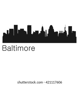 Baltimore City Vector Silhouette Background Illustration