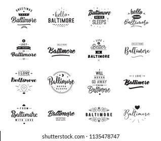 Baltimore. Greeting cards, vector design. Isolated logos. Typography set.