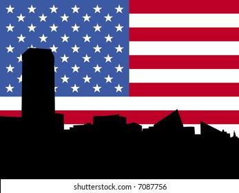 Baltimore Inner Harbor skyline with American flag illustration