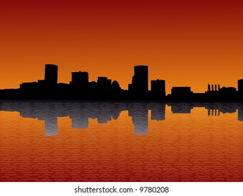 Baltimore Inner Harbor at sunset with beautiful sky illustration