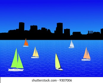 Baltimore Inner Harbor and yachts with colorful sails illustration