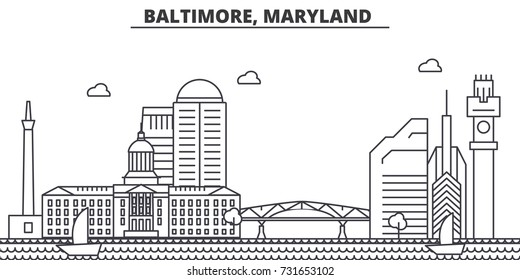 Baltimore, Maryland architecture line skyline illustration. Linear vector cityscape with famous landmarks, city sights, design icons. Landscape wtih editable strokes