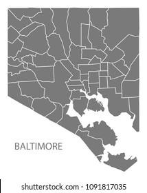 Baltimore Maryland city map with neighborhoods grey illustration silhouette shape