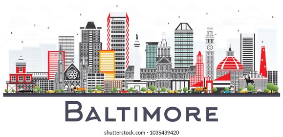 Baltimore Maryland City Skyline with Gray Buildings Isolated on White. Vector Illustration. Business Travel and Tourism Concept with Modern Architecture. Baltimore Cityscape with Landmarks.