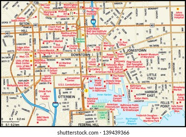 Baltimore, Maryland downtown map