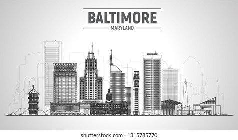Baltimore ( Maryland ) line skyline with silhouette at white background. Vector Illustration. Business travel and tourism concept with modern buildings.