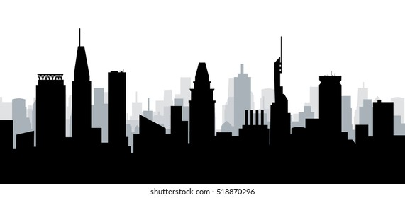 Baltimore Maryland Morning Skyline - Vector