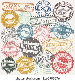 Baltimore Maryland Stamp Vector Art Postal Passport Travel Design Set