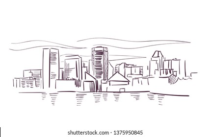 Baltimore Maryland usa America vector sketch city illustration line art