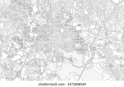 Baltimore, Maryland, USA, bright outlined vector map with bigger and minor roads and steets created for infographic backgrounds.