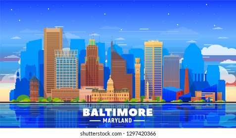 Baltimore Maryland USA skyline with panorama in sky background. Vector Illustration. Business travel and tourism concept with modern buildings. Image for banner or web site.