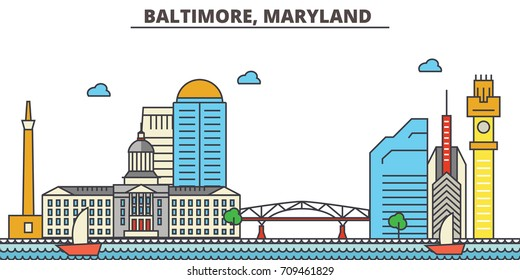 Baltimore, Maryland.City skyline: architecture, buildings, streets, silhouette, landscape, panorama, landmarks, icons. Editable strokes. Flat design line vector illustration concept.