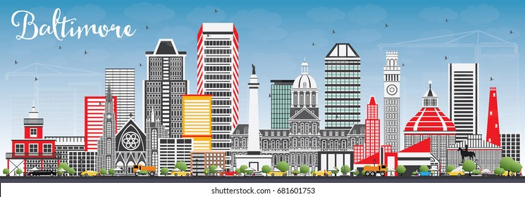 Baltimore Skyline with Gray Buildings and Blue Sky. Vector Illustration. Business Travel and Tourism Concept with Modern Architecture. Image for Presentation Banner Placard and Web Site.