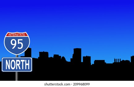 Baltimore skyline with interstate 20 sign vector illustration