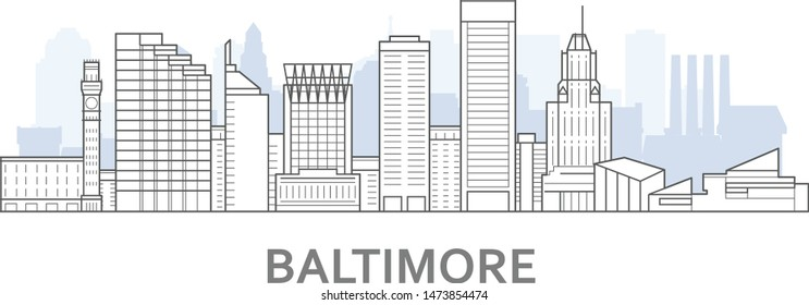 Baltimore skyline, Maryland - panorama of Baltimore, downtown outline view