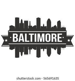 Baltimore Skyline Stamp Silhouette City Design