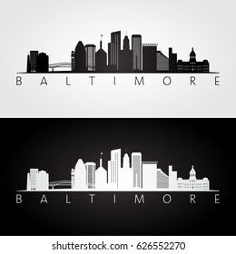 Baltimore USA skyline and landmarks silhouette, black and white design, vector illustration.
