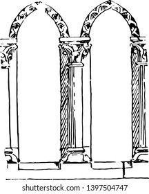 Balustrade Early Gothic balustrade Rudolf Wittkower terrace stairs vintage line drawing or engraving illustration.