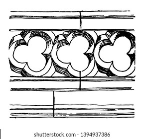 Balustrade etymological information commercial public sector and domestic clients tracery vintage line drawing or engraving illustration.