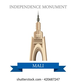Bamako Independence Monument in Mali. Flat cartoon style historic sight showplace attraction web site vector illustration. World countries cities vacation travel sightseeing Africa collection.