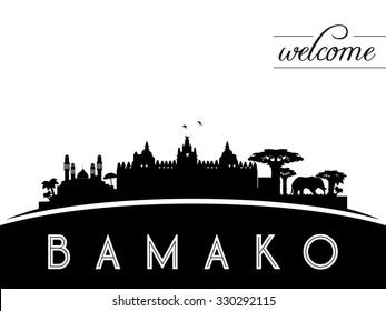 Bamako Mali skyline silhouette, black and white design, vector illustration