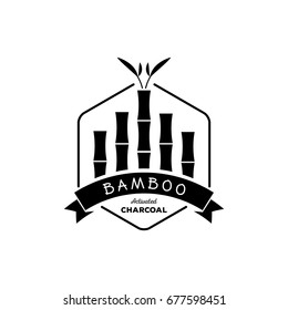 bamboo activated charcoal with bamboo tree logo design