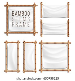 Bamboo Banner Frame Set Vector. Bamboo With Canvas. Wooden Frame Of  Sticks Swathed In Rope. Japanese Backdrop Template Illustration