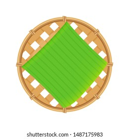 bamboo basket weave brown and banana leaf cut out, empty basket weave bamboo isolated on white, sieve wicker handmade brown, handicraft braided basket round shape, bamboo sieve basketry circle