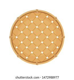 bamboo basket weave brown in top view isolated on white background, empty basket weave bamboo or sieve wicker handmade brown, handicraft braided basket round shape, bamboo sieve basketry circle