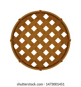 bamboo basket weave brown in top view isolated on white background, empty basket weave bamboo or sieve wicker handmade dark brown, handicraft braided basket round shape, bamboo sieve basketry circle