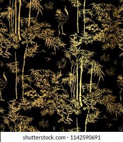bamboo bird crane tree vector japanese chinese seamless pattern design gold black