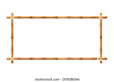 Bamboo border frame with rope in cartoon style, decoration isolated on white background stock vector illustration. Hawaiian, tribal blank from sticks.