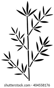 Bamboo branch with leaves black silhouette isolated on white background