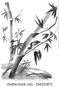 Bamboo branches isolated on the white background. Vectorization watercolor painting.