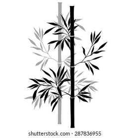 Bamboo branches isolated on the white background. Black silhouette.