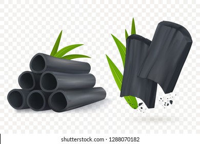 Bamboo charcoal vector illustration. Realistic Cosmetic charcoal isolated on transpartent background. Pieces of activated carbon. Natural component. Eps 10.
