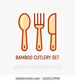 Bamboo cutlery set thin line icon. Modern vector illustration.