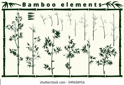bamboo elements collection on white background, vector illustration